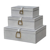 Dimond Home Nested White Leather and Brass Boxes, 3-Piece Set