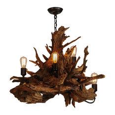 """Meyda Lighting 30""""W Driftwood 6 + 1-Light Chandelier, 6 + 1 Med Base"""