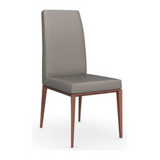 Bess Skuba Leather Chair, Taupe, Walnut Legs