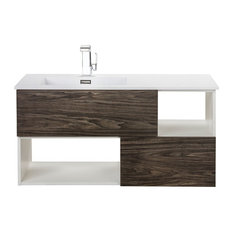 Sangallo TETE A TETE 42-inch Wall Hung Vanity W/Matt Top & Dark Wood By Cutler