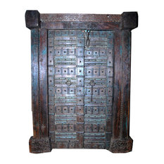 Mogulinterior.com - Consigned Antique Doors Hand-Carved Blue Patina Reclaimed Teak - Interior Doors