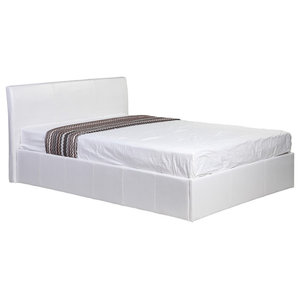 Faux Leather Small Double Bed Frame With Storage, White