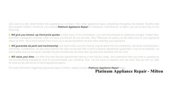 Appliance Repair Milton - Platinum Appliance Repair (289) 270-0316
