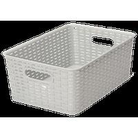 Plastic Rattan Storage BoxBasket Organizer, Gray, Medium