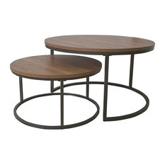Set of 2 Coffee Table, Nesting Design With Metal Frame and Round Brown Top