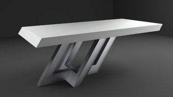 Ess- / Konferenztisch aus Beton + Edelstahl