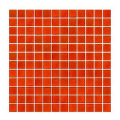 "12""x12"" Transparent Bright Orange Ocean Bottle Glass Tile, Full Sheet, Grid"