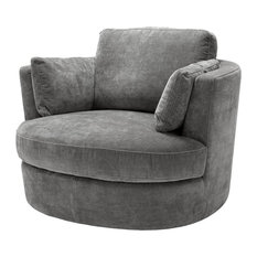 "Grey Swivel Chair | Eichholtz Clarissa, grey, 44""W x 40""D x 28""H"