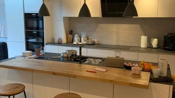 Family Home Extension, inc skandi style kitchen w exposed brick
