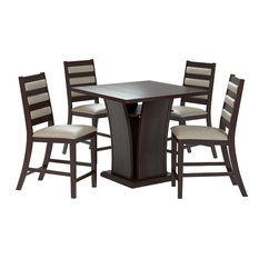 "Bistro 5-Piece 36"" Counter Height Rich Cappuccino Dining Set, Platinum Sage"