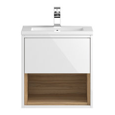 Wall-Mounted Bathroom Vanity Unit and Sink, Gloss White and Cocobolo, 51 cm