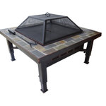 """Global Outdoors Inc - Global Outdoors 34"""" Adjustable Leg Square Slate Top Fire Pit With Screen/Cover - •34-inch square, slate top fire pit with adjustable leg feature provides stability on uneven surfaces"""