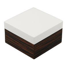 Lacquer Small Square Box, Macassar Ebony with White Lid