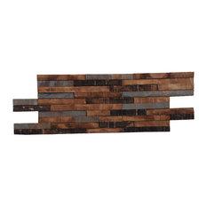 """23.62""""x7.87"""" Kayu Rustica Teak Wall Tiles, Set of 10"""