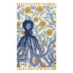 """nuLOOM Flatweave Cotton Thomas Paul Octopus Coastal Area Rug, Multi, 8'6""""x11'6"""""""