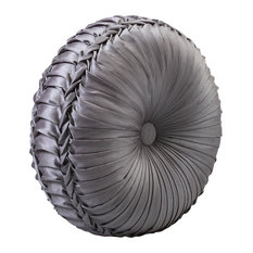 Tufted Round Pillow, Pewter