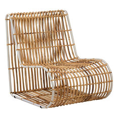 DOVETAIL MELO Occasional Chair Pearl White Rattan Iron Frame
