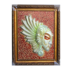 Artistic Liuli Glass Lady Head Figure Frame Art