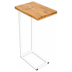 Modern End Table with Bamboo Plank and Stainless Steel Frame, White Finish
