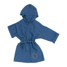 Linen Hooded Kimono Robe, Teal