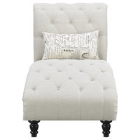 Pemberly Row Thelwell Ivory Chaise With Button Tufting Nailhead Trim