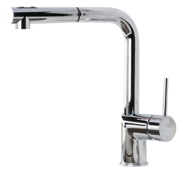 Hahn Ultra Modern Duo Single Lever Pull Out Kitchen Faucet, Chrome