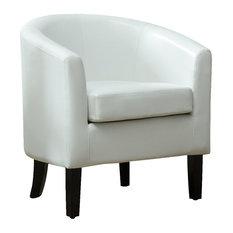 Modern Club Chair Barrel Design, Faux Leather, White
