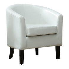 belleze modern club chair barrel design faux leather white armchairs and accent