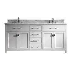 "Caroline 72"" Double Bathroom Vanity Cabinet Set, White"