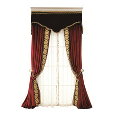 "Flowing Luxury Curtains, 3-Piece Set, Red, 100"", 96"""