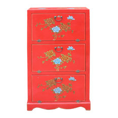 Chinese Red Vinyl Flower Shoes Accessories Storage Cabinet Hcs5013