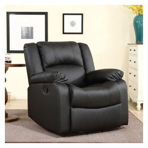 Faux Leather Rocker Swivel Glider Chair, Black
