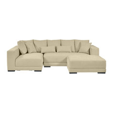 Hugo Sectional, Creamy Blanched Almond Chenille Linen