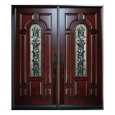 "Exterior Front Entry Double Wood Door M280A 36"" x80""x2, Left Hand Swing In"