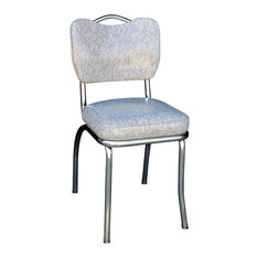 Handle Back Chrome Diner Chair, Cracked Ice Gray