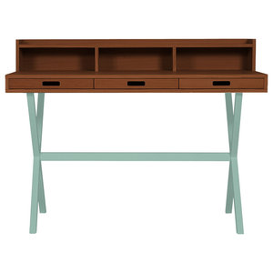 HARTO Hyppolite Walnut Desk, Mint Green Legs