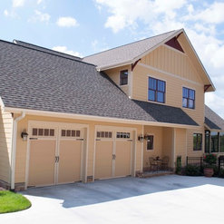 Tan Side By Side Gate Style Garage Door (with Glass Windows)