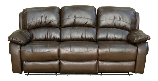 Dark Brown Bonded Leather Contemporary Recliner Sofa Couch