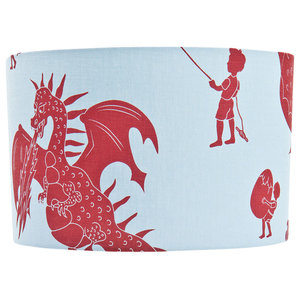 """PaperBoy Interiors """"Ere Be Dragons"""" Lampshade, Blue and Red, Pendant Fitting"""