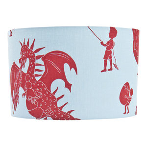 """PaperBoy Interiors """"Ere Be Dragons"""" Lampshade, Blue and Red, Floor or Table Fitt"""