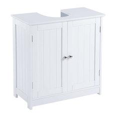 Under Sink Bathroom Cabinet, White MDF With Double Doors and 2 Inner Doors