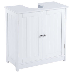 Under Sink Bathroom Cabinet, White MDF With Double Doors and 2 Inner Doors