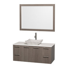 "Wyndham Collection 48"" Amare Gray Oak Vanity Set With White Man-Made Stone Top"
