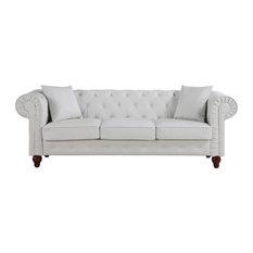 Divano Roma Furniture   Chesterfield Bonded Leather Sofa, White   Sofas