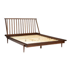 Modern Wood Queen Spindle Bed, Walnut