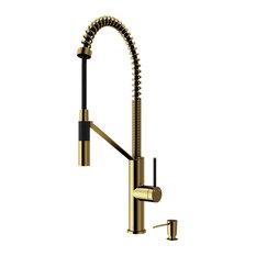 VIGO Livingston Magnetic Kitchen Faucet With Cfiber� and Dispenser, Matte Gold