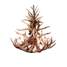 "Real Antler Palisades Deer Chandelier, 24""x20"", Down Light"