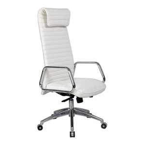 Modern Contemporary Office Chair Black Leatherette Chrome