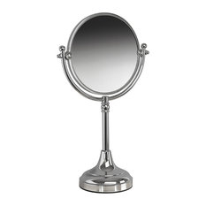 Classic Free Standing With 3-Times Magnification Mirror, Polished Nickel