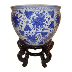 Blue and White Porcelain Jardiniere, Indoor/Outdoor Use, 18""